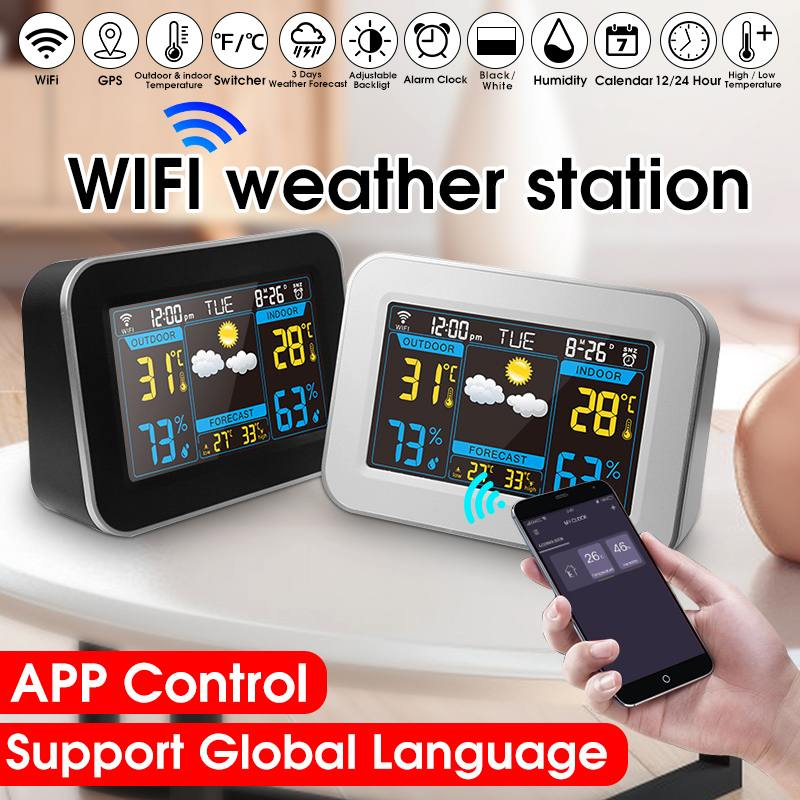 Color WIFI Weather Station Thermometer Hygrometer Snooze Clock Sunrise Sunset LCD Color Screen Display APP Control image