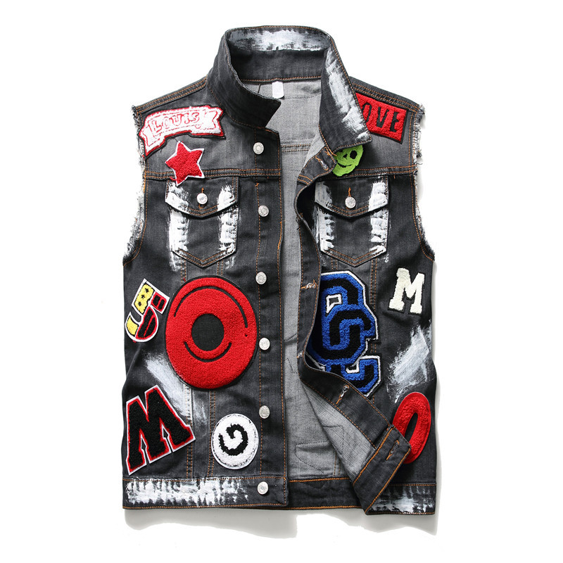 Jean Jacket Men's Denim Vest Embroidery Hip Hop Jean Coats Waistcoat Men Cowboy Sleeveless Jacket Male Tank Plus Size 3XL #994