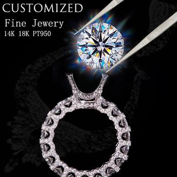 Dostosuj usługę biżuterii niestandardowy pierścionek moissanite diamentowy pierścionek GIA lub pierścionek ze szmaragdem pierścionek z rubinem w 14K 18K Pt950 tanie i dobre opinie AEAW jewelry białe złoto 14 k CN (pochodzenie) Kobiety Drobne Z wystającym oczkiem Brak Pierścionki Contact us AEAW65787