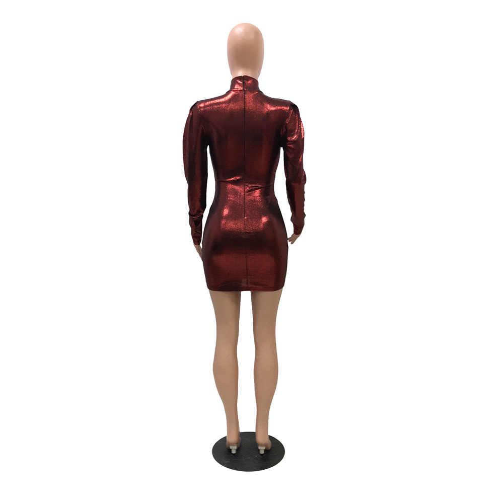 Delle donne Del Partito di Sera Del Club Mini Abito Corto 2019 Solido Rosso Blu Nero Vestito Da Autunno Sexy Cornici e articoli da esposizione Hip Vestito Aderente Abiti