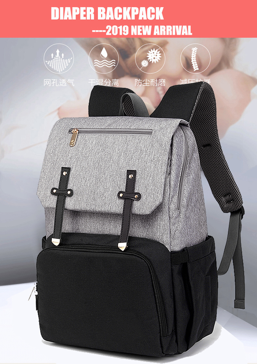 H8969b80aff484f7d93dd262a103e57c5W Baby Diaper Bag with USB Port Waterproof Nappy Bag Mommy Backpack Laptop Bag Maternity Bags With Rechargeable Bottle Holder