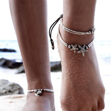 Vintage Bracelet Foot Jewelry Retro Anklet For Women Girls Ankle Leg Chain Charm Starfish Beads Bracelet retro lace beads anklet for women