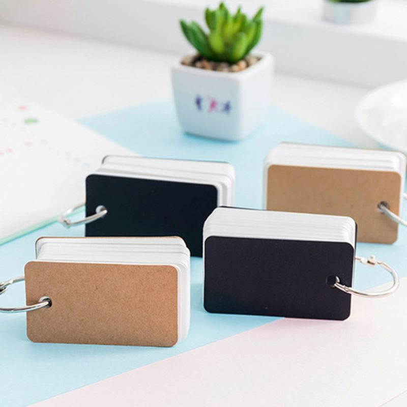 Simple DIY Index Cardboard Cover Blank Paper Card Memo Pad Bookmark Binder Rings DXAC