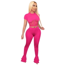 Sexy Two Piece Set Women Crop Top and Bodycon Flare Pants Ma