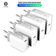 Adaptateur secteur 18W 30W 45W 60W 65W QC3.0 PD3.0, chargeur pour ordinateurs portables xiaomi MacBook Pro/Air iphone 11 pro iPad pro S10