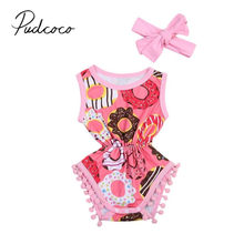 2019 Baby Summer Clothing Newborn Infant Baby Girls Outfit Colorful Donut Tassel Clothes Jumpsuit Bodysuit+Headband 2Pcs Set(China)