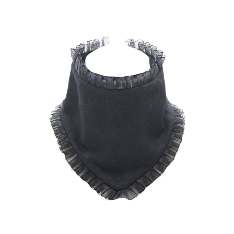 Pleated Ruffles Rim High Fake Collar Triangle Necklace Choker Wool Neck Warmer