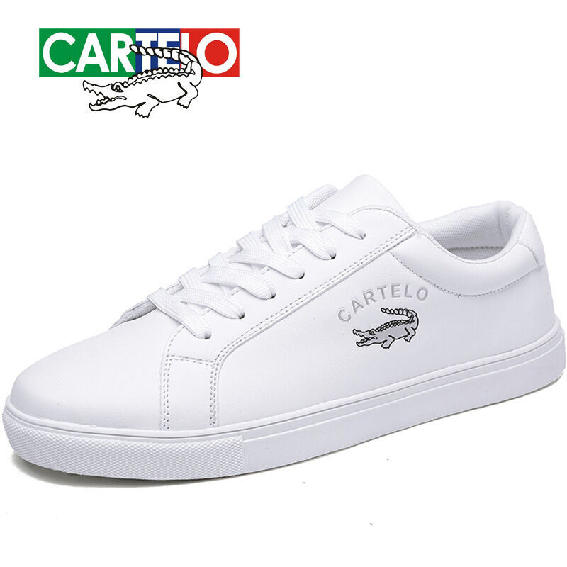 CARTELO Men's Shoes New Casual Shoes Men's Leather Flat Shoes With Low-top Sneakers Tenis Masculino