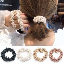 Scrunchie bande en caoutchouc élastique pour filles, accessoires pour cheveux pour femmes, élastique pour queue de cheval perles