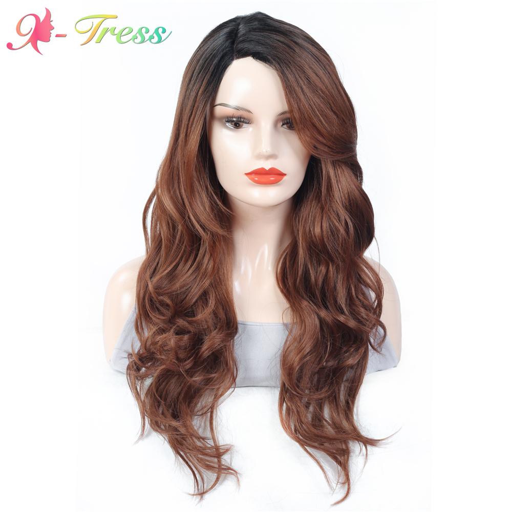 X-TRESS Red Brown Long Wave Synthetic Wigs for Women Ombre Color Lace Part Wig Side Part High Temperature Fiber Cosplay Wigs