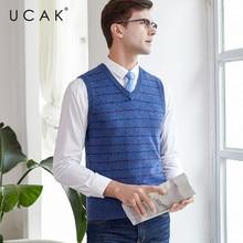 UCAK Brand Sweater Vest Men 2019 New Arrival Casual Solid Striped Pure Merino Wool Streetwear Pull Homme Winter Sweaters U3117