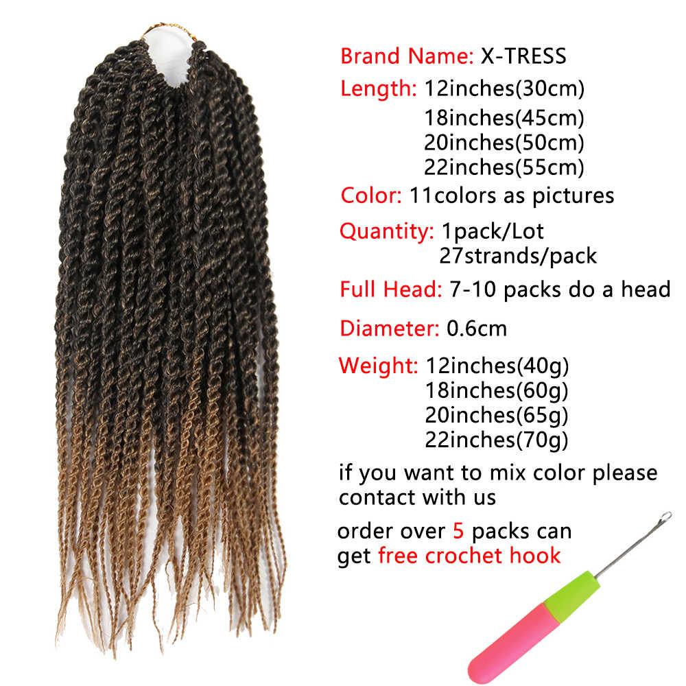 """Ombre brązowy kolor syntetyczny senegalski doczepy ze skręcanych splecionych włosów X-TRESS 12 """"27 korzeni niskotemperaturowe włókna szydełkowe warkocze"""