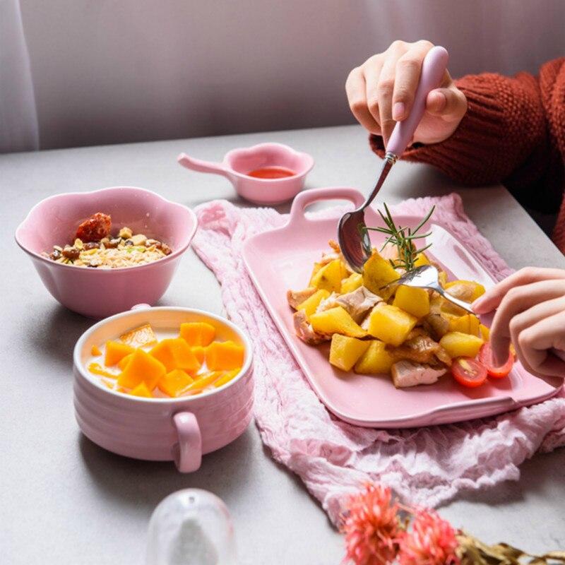Ensemble de vaisselle en céramique pour une personne | Ensemble de vaisselle de couple de style japonais créatif assiette à nourriture pour une personne, maison binaural plat occidental, plateau à déjeuner YHJ022505