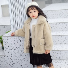 купить New Kids Fur Coat for girls winter wool jackets teenager wool coat outerwear children fur coat turn-down collar jackets 2019 дешево