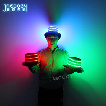 High quality LED luminous hat Halloween Christmas party fluorescent flashing magic hat night bar stage DJ laser show props