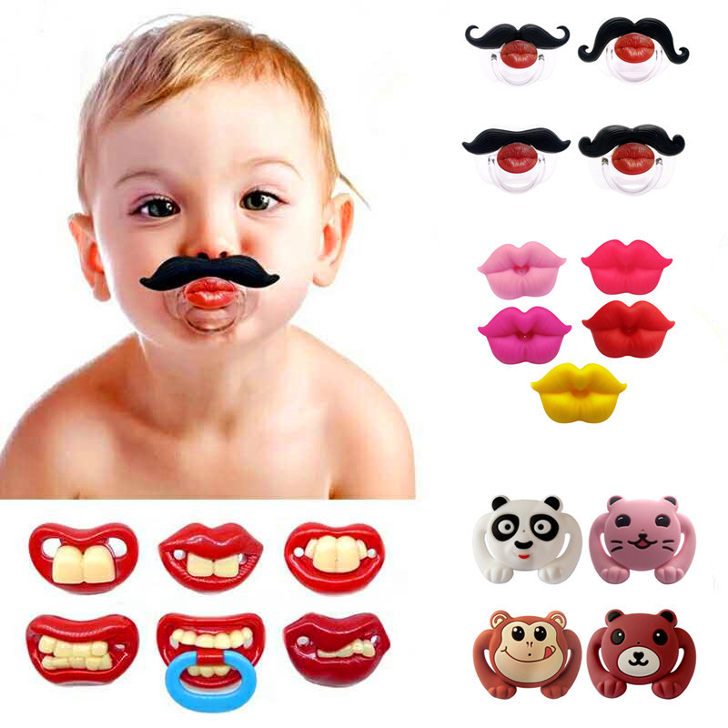 New Spoof Funny Baby Silicone Pacifier Funny Teething Pacifier Baby Rabbit Teeth Funny Pacifier Beard Pacifier