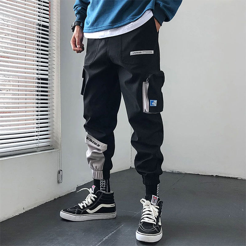 2019 Japan Hip Hop Boy Multi-pocket Elastic Waist Design Harem Pant Men Streetwear Punk Casual Trousers Jogger Male Dancing Pant