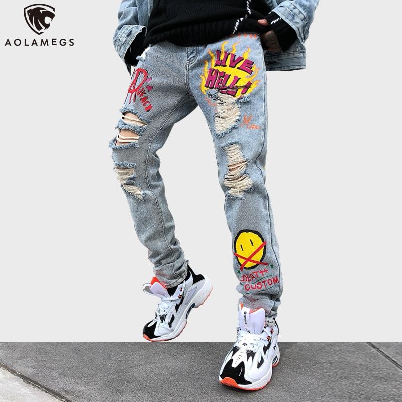 Aolamegs Jeans Men Punk Cool Graffiti Denim Pants Men Broken Hole Trousers Cute Letter Print Jeans High Street Casual Streetwear