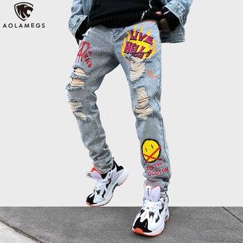 Aolamegs Jeans para hombres Punk Cool Graffiti pantalones de mezclilla para hombres pantalones de agujero roto Linda letra impresa Jeans High Street Casual Streetwear
