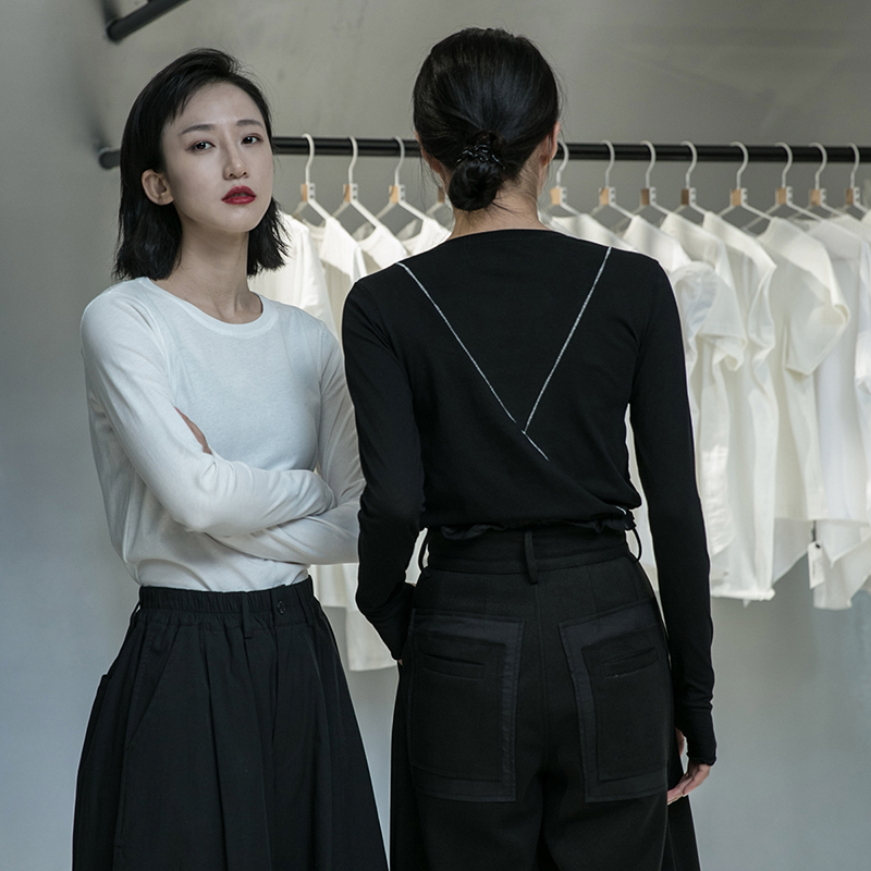 [EAM] Women Black Line Split Joint Temperament T-shirt New Round Neck Long Sleeve  Fashion Tide  Spring Autumn 2020 1DA905 3