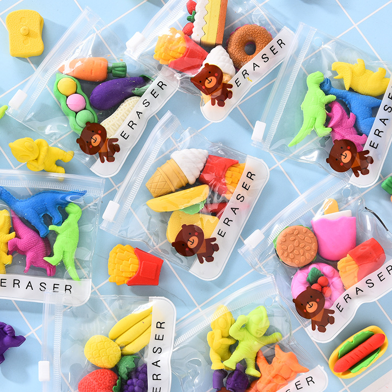 4Pcs/bag Kids Fruit Vegetable Ice Cream Shape Rubber Pencil Erasers Funny Detachable Assemble Erasers Learning Education Toys