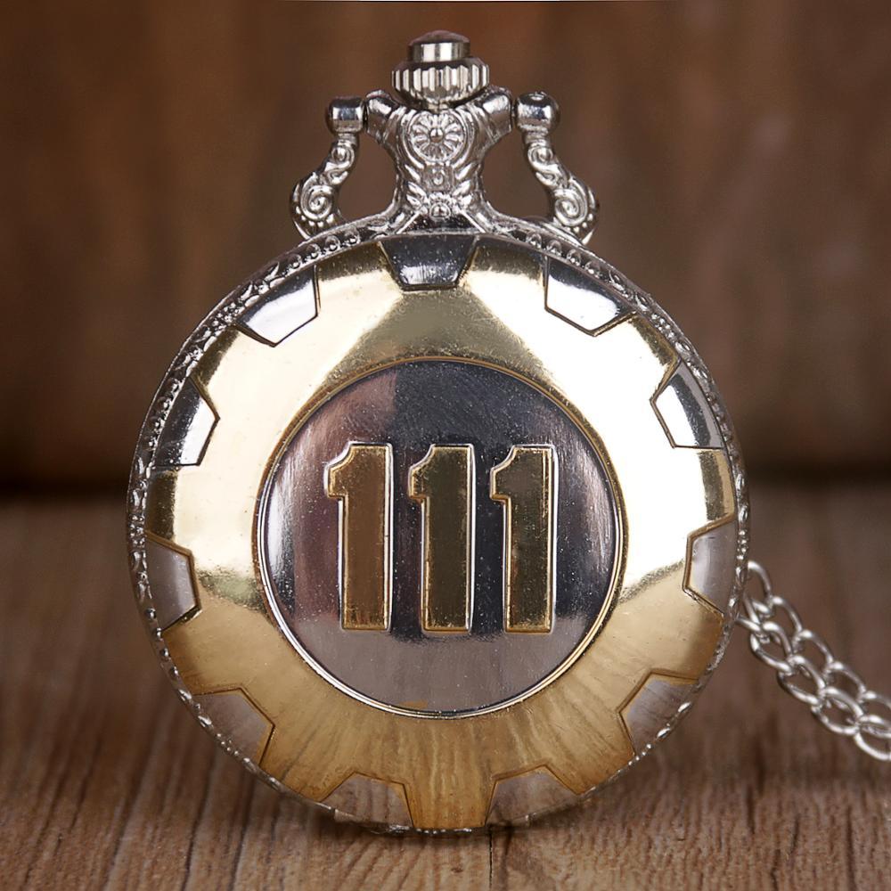 Vintage Antique Quartz Pocket Watch Silver Gold Game Fallout 4 Vault 111 Steampunk Women Man Necklace Pendant