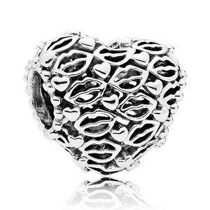 Original a céu aberto corações e lábios injeta amor & beijos contas caber 925 prata esterlina charme pulseira feminina jóias diy
