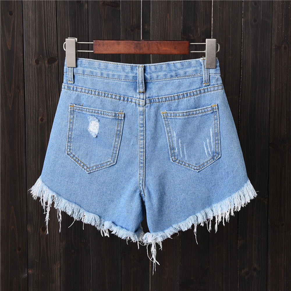 Fashion Tassel Denim Shorts Women Hole Ripped Jeans Shorts Sexy High Waist Short Pants Summer Shorts Femme Buttons Pockets 6XL