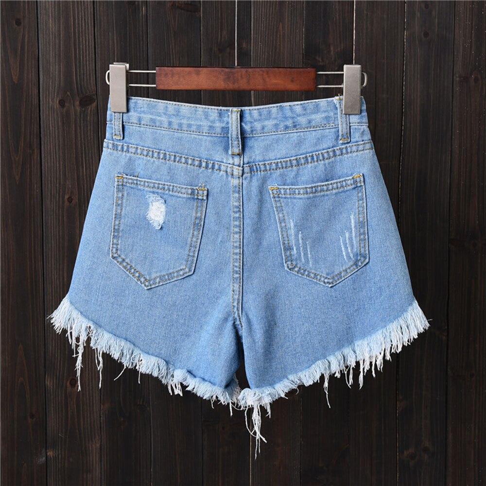 Fashion Tassel Denim Shorts Women Hole Ripped Jeans Shorts Sexy High Waist Short Pants Summer Shorts Femme Buttons Pockets 6XL