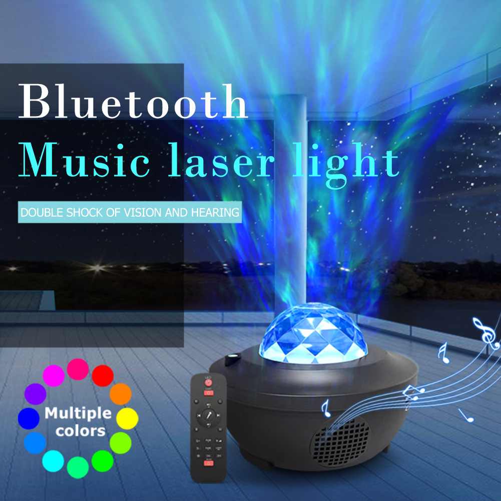 Colorful Projector Water Wave Starry Sky Night Light Romantic Ocean Wave Projector LED Nightlight Voice Control Music Player