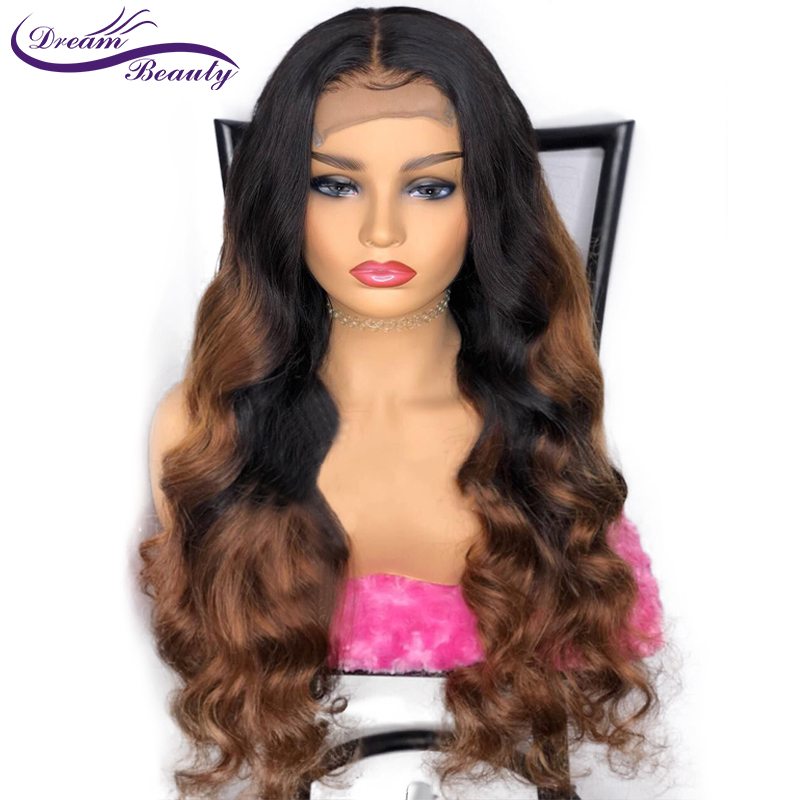 Ombre Glueless Human Hair Lace Front Wigs 180 Density Wavy 13x4 Brazilian Remy Hair Ombre Color
