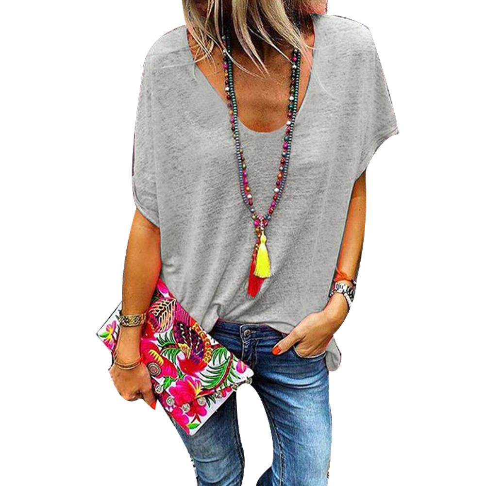 Plus Size Candy Color V Neck Short Sleeve T-Shirt Summer Tee Women Loose Top