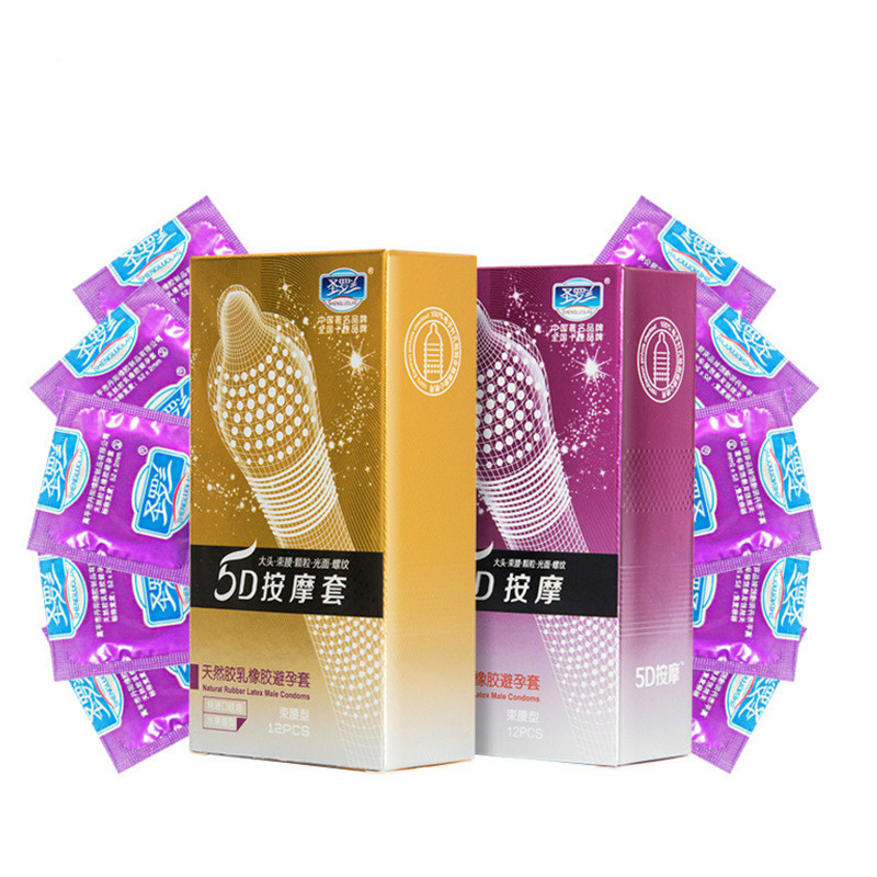 12pcs 5D Dotted Thread Ribbed G-Point Latex Condoms Ultra Thin Style Orgasm Safer Contraceptives Stimulate Vaginal Latex Condom