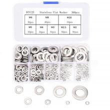 304 aço inoxidável plana arruela selo anel espaçador terno parafuso meson metal gaxeta terno m2 m2.5 m3 m5 m6 m8 m10 combinação terno