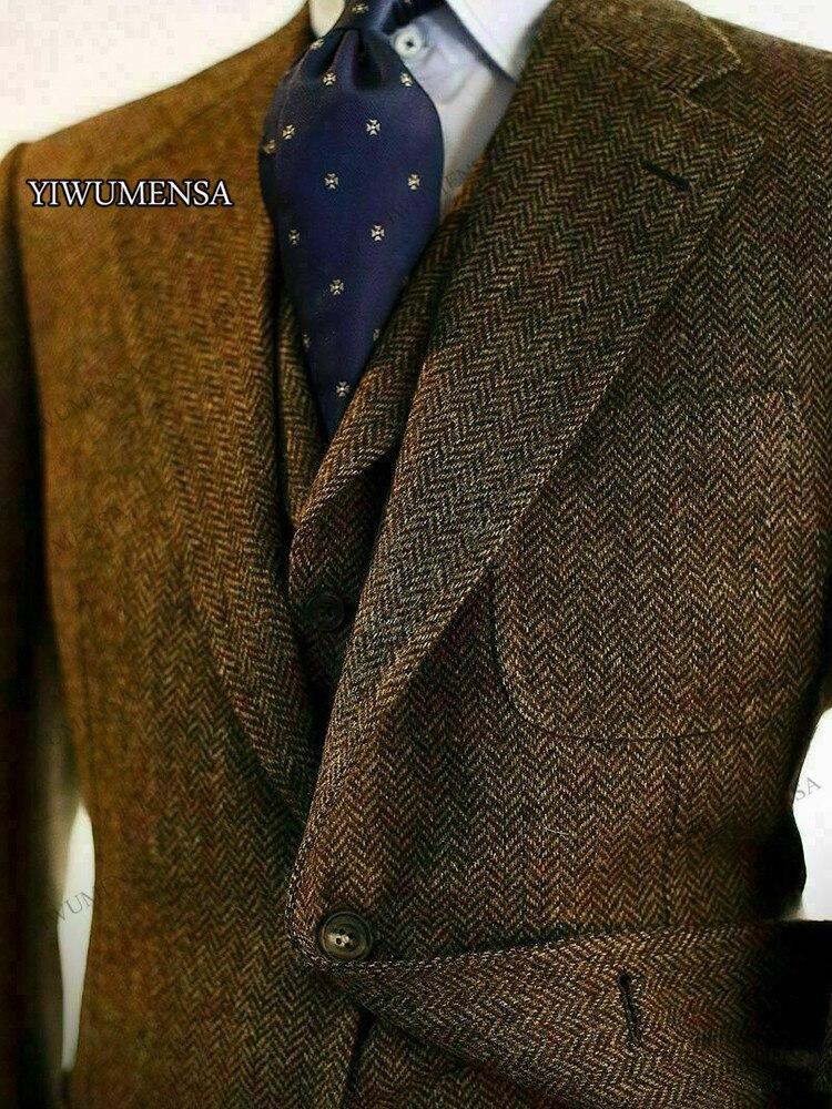 wedding : Costume Homme Mariage Brown Tweed Wool Herringbone Men Suits Slim Fit Wedding Groom Notch Lapel Blazer Masculino Business 2021
