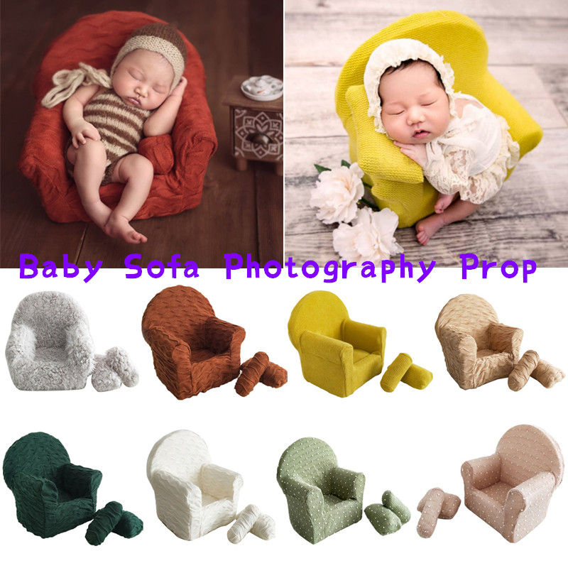 3 Pcs Newborn Photography Props Baby Posing Mini Sofa Pillow Set Infant Photo Shooting Chair Decoration Photography Accessories