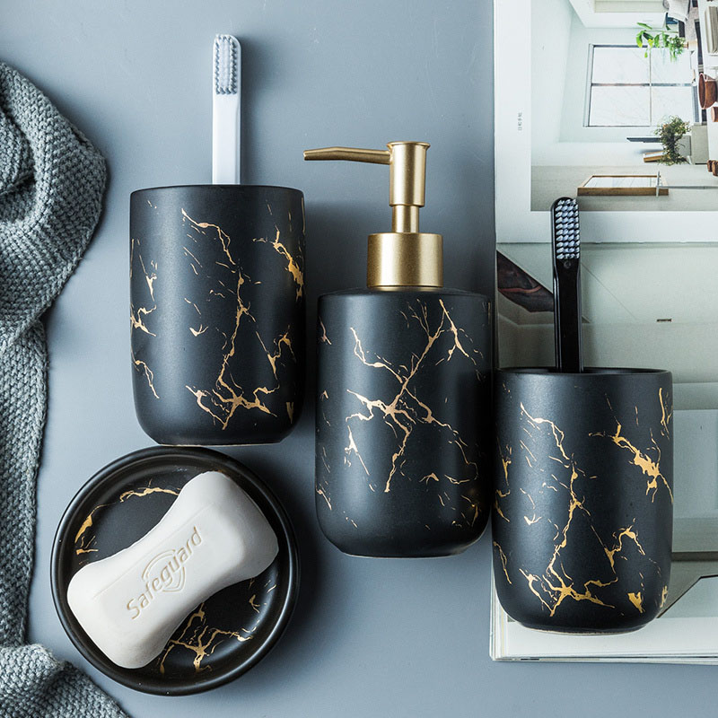 Black White Marble Ceramic Bathroom Accessories Set Toothbrush Holder Soap Dispenser Dish Tumbler Household Articles Storage image