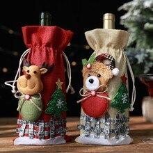 Счастливого Рождества Санта вино чехол для бутылки Рождественский фестиваль вечерние декор стола подарок# YC106