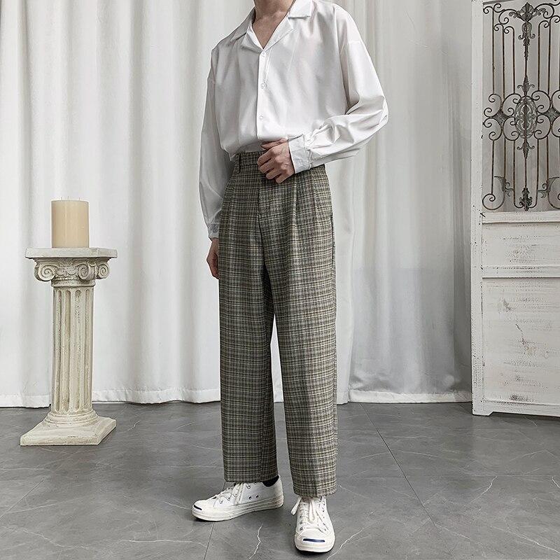 Spring Plaid Pants Men's Fashion Retro Casual Straight Pants Men Streetwear Wild Loose British Style Dress Pants Mens Suit Pants