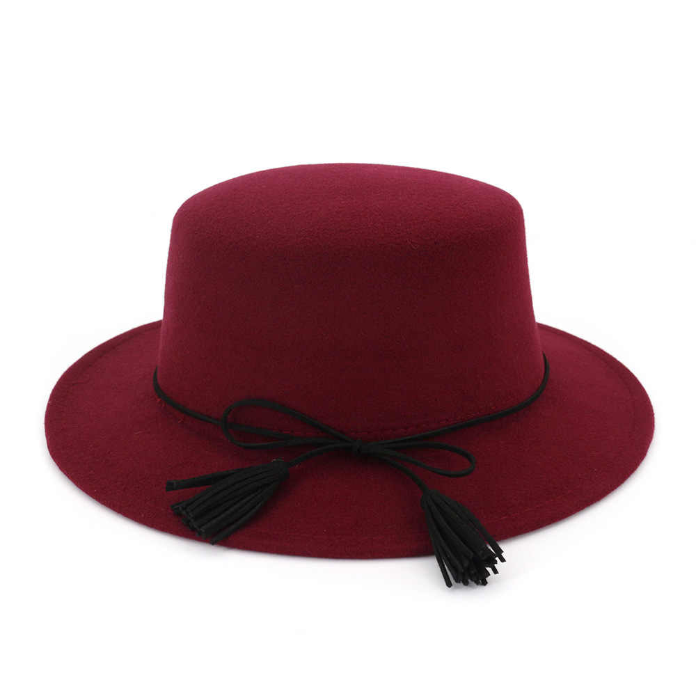ZLD الأوروبية والأمريكية التجارة الخارجية الكلاسيكية الأسود الصوف أفضل قبعة البريطانية الرجعية شقة أعلى شقة شرابة القوس أنيقة قبعة