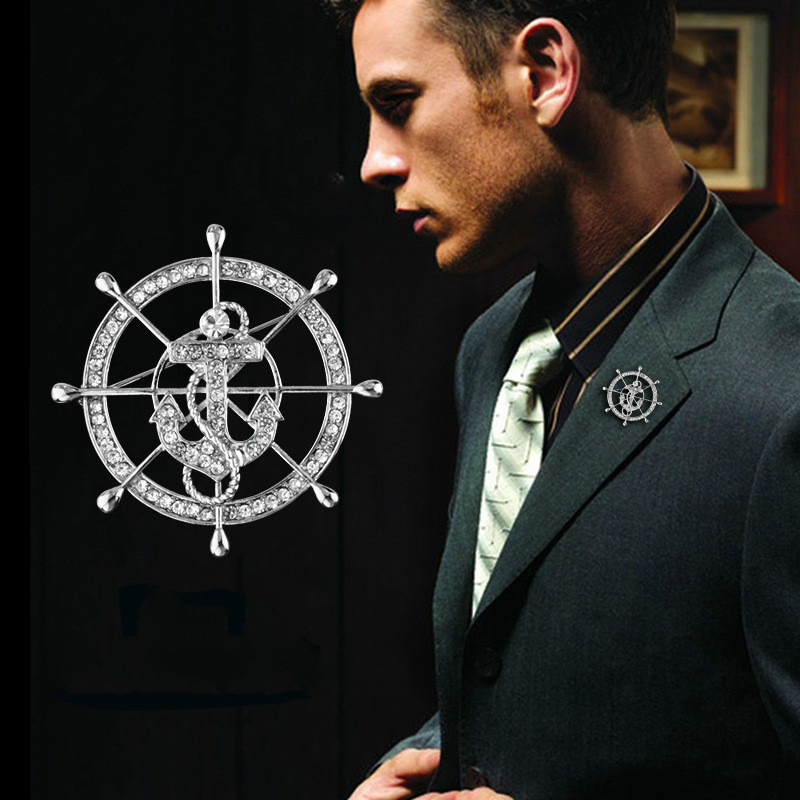 Korean Fashion Navy Style Rudder Brooch Crystal Anchor Lapel Pin High-end Men's Suit Shirt Collar Pins Badge Jewelry Accessories