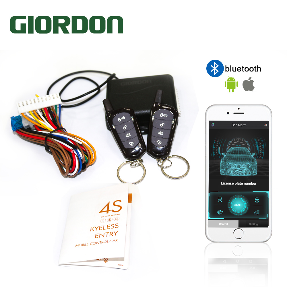 GIORDON Universal Car Auto Keyless Entry System Button Keychain Central Kit Door Lock with Remote Control Start Stop APP