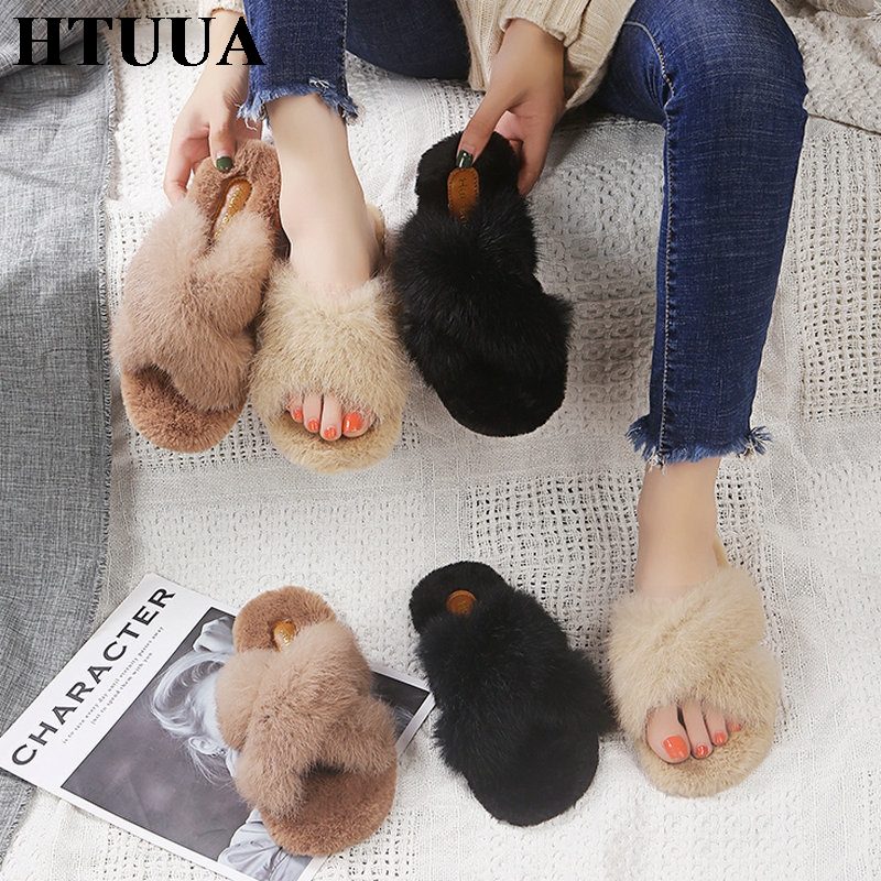 HTUUA Fur Slippers House Shoes Woman Plush Furry Fluffy Winter Women Indoor Warm Flat Slides