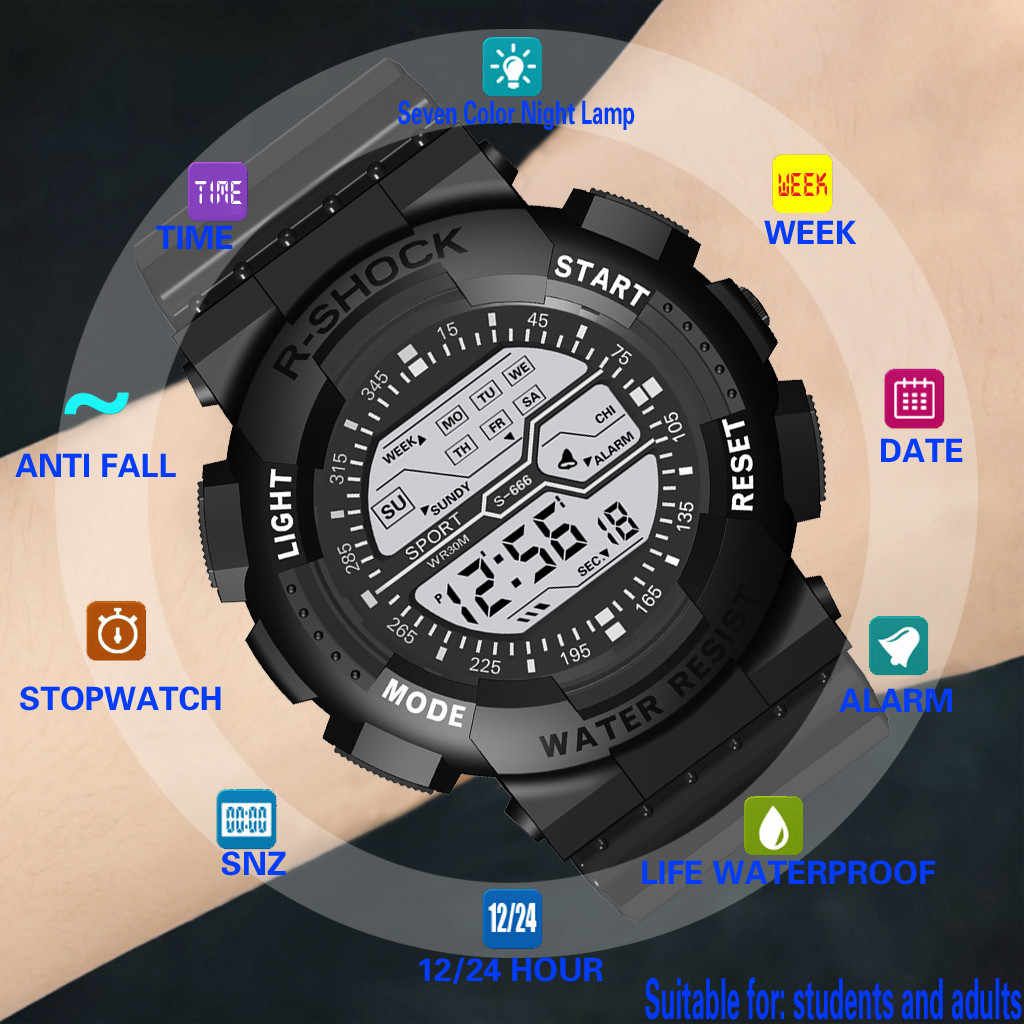 Watch men digital watch Mens sport watch Wristwatches Relogio Masculino LED Men Electronic watches montre homme