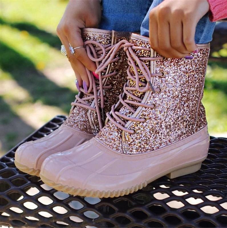 Women\'s Boots Lady Duck Boot With Waterproof Zipper Rubber Sole Women Rain Boots Lace Up Mid-Calf Shoes Fur Winter Women Shoes