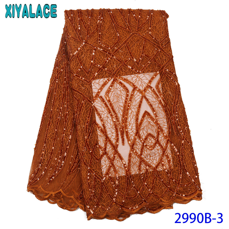 Africa lace high quality lace fabric,2019 organza laces with sequins,New French fabric lace,Double net lace KS2990B-3