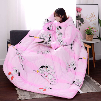 Multifunction Lazy Quilt with Sleeves Blanket 1