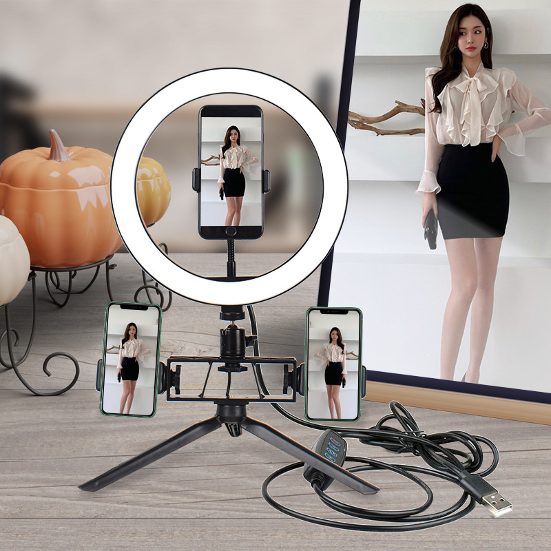 Beauty Photography LED Selfie Ring Light 26CM Dimmable Camera Phone Ring Lamp 10inch Table Tripods For Makeup Video Live Studio