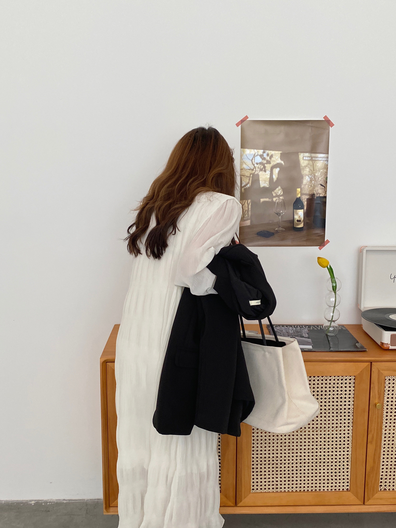 H896c3448d22b4b9387b295d969f2982dB - Autumn Korean O-Neck Flare Long Sleeves Chiffon Pleated Midi Dress