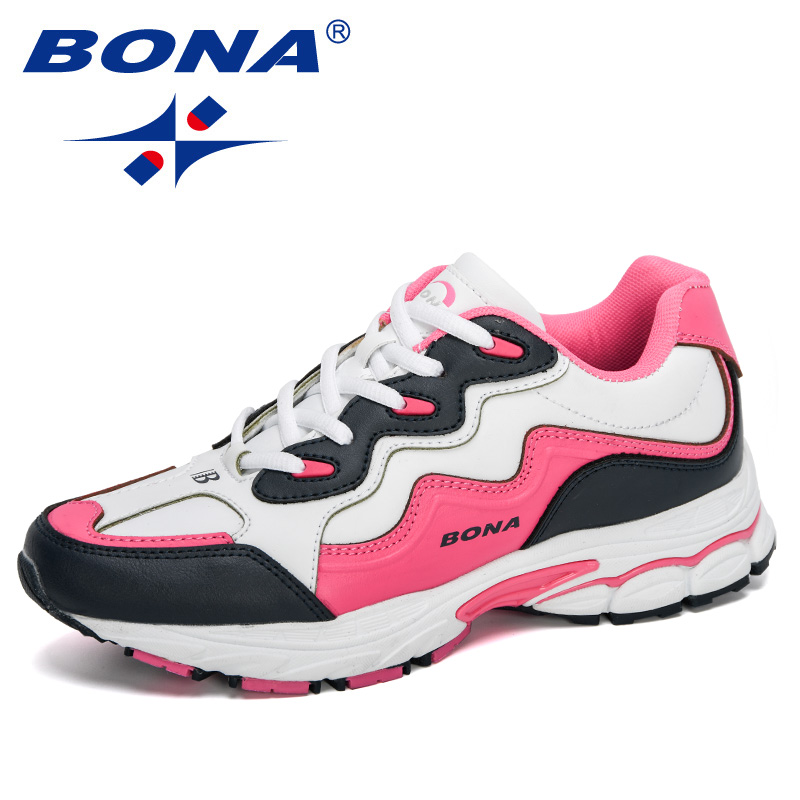 BONA 2020 New Designers Women Action Leather Running Shoes Ladies Shoes Mesh Athletic Shoes Sneakers Women Zapatos De Muje Comfy